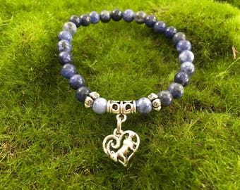 Blue Sodalite  Enchanted Goat Yoga Stretch Bracelet - A portion of the proceeds go to Goats of Anarchy