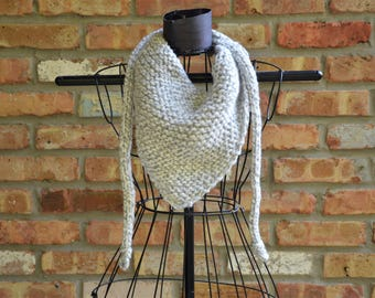 Hand knit cowl/scarf.  Grey and white