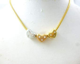 Heart Necklace, Tri color Necklace, Dainty Heart Necklace