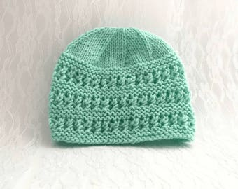 Baby Hat in Minty Green, Fits 3-6 mos