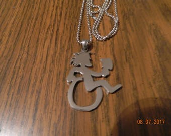 "NEW- HATCHETMAN in Wheelchair Polished Stainless Steel pendant w/30"" ball chain"