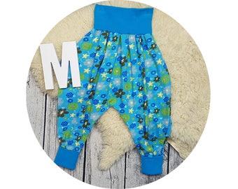 Mitwachsen trousers, harem trousers, harem pants, baby pants, baby, pants, Jersey pants, flower, flowers, sequins, aqua