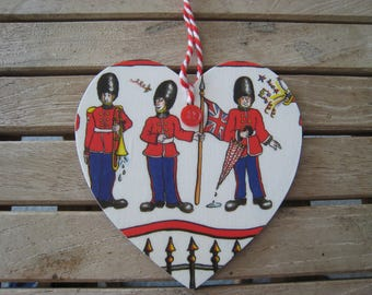 Royal Guards Christmas hanging wooden heart ornaments! 100% hand-made and unique!