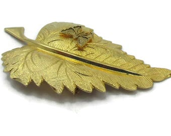 Gold Tone Bee Leaf Scarf Clip Designer Scarf Holder Shawl Vintage Costume Jewelry Accessories Gift Ideas