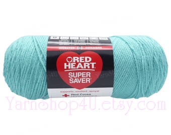 ARUBA SEA, Red Heart Super Saver. This is a light teal color; almost mint. 100% Acrylic Economic Yarn. No Dye Lot. Cheap Yarn 370yds | 7oz
