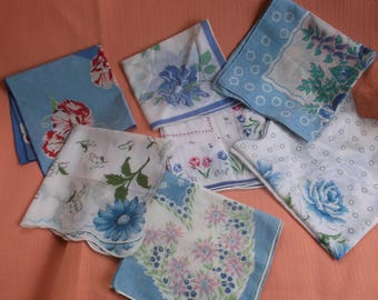 7 Vintage All Cotton Floral Hankies, Great for Bridal, Wedding or special event, Blue Flowers, Blue Accents, Handkerchief Lot