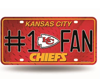 Kansas City Chiefs NFL #1 Fan Metal License Plate