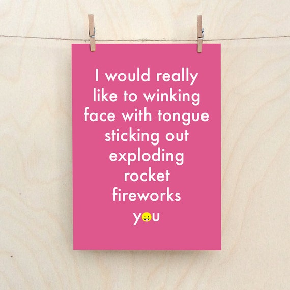 Exploding Firework Card, Funny love Card, Funny emoji card, funny valentines card
