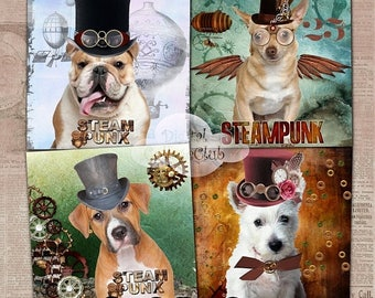 80 % off Graphics SaLe Steampunk Art Dog Digital Collage Sheet Images for Cardmaking, Coasters Large Image Background Scrapbooking Decoupage