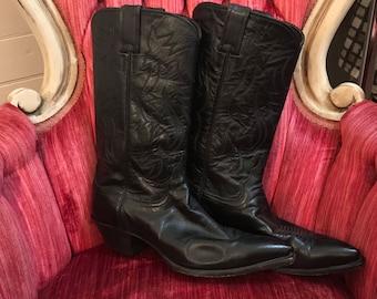 Vtg Black Cowboy boots size 9