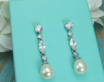 SALE Ends Monday Sparkle cz earrings, pearl bridal earrings, cubic zirconia earrings, wedding jewelry, wedding earrings, bridal bridesmaid j