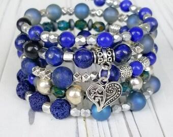 Lapis Lazuli Wire Wrap Boho Bracelet - Boho Wrap Bracelet - Womens Boho Jewelry - Boho Glam Bracelet - Heart Wrap Bracelet - Gift for Her