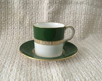 Royal Crown Derby Flat Demitasse Cup and Saucer, Antigua Pattern, English Bone China, A1279