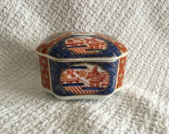 Takahashi Imari Trinket Box, Porcelain Cobalt Blue and Rust Box, Geometric Floral Pattern, Gold Trim, Imari Box, 1980s
