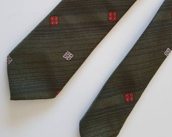 1950s Khaki and Red Detailing Town Talk Tie
