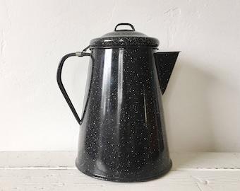 Vintage Black Speckled Enamelware Kettle or Coffee Pot / Rustic Farmhouse / Camping / Graniteware