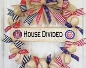 "House Divided ""Rival Wreaths""- Perfect for the household loyal to more than one team!! Baseball wreath-MLB-Coach's Gifts- Front Door Wreaths"