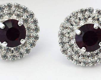 Swarovski Garnet Stud Earrings Garnet Crystal Earrings Wedding Jewelry Silver Stud Earrings Choose Your Color Swarovski Crystal Earrings