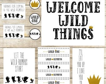 Where the Wild Things Are Party Package / Wild Things Party Supplies / Wild Things Cupcake Toppers / Wild Things Welcome Sign / Thank You