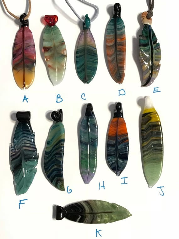 Glass Feather Pendants