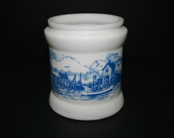 Vintage Delft Blue White Milk Glass Humidor Dutch Windmill Canister