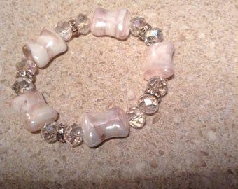 Beaded soft pink elastic bracelet