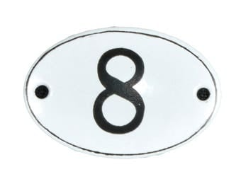 "Plate ""No. 8"" in white and black enamel"
