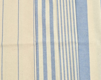Set of 4 patchwork fabrics coupons / sewing 50 x 45 cm blue stripes