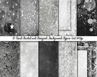 Vintage Black N White Wall Papers, Black N White  Grunge Digital Papers, , Scrap booking paper,Black N White Wedding Papers, PU/CU