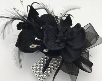 Black Silk Orchid Feather Silver Pearled Prom Wedding Wrist Corsage