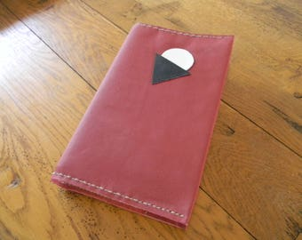 Carmine red leather book cover