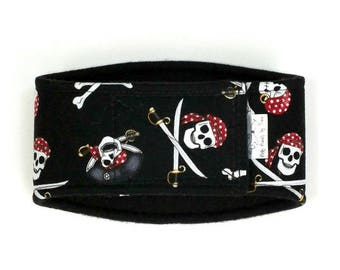 Large-Long Pirates Skulls Male Dog Belly Band, dog diaper, belly bands by trina, dog wrap