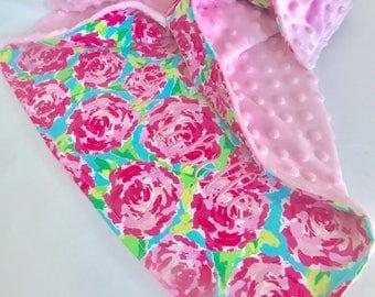 New Lilly Pulitzer Print Minky Baby Blanket