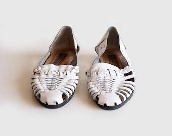 vintage white huarache sandals