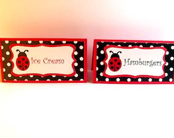 Ladybug Food Labels, Ladybug Birthday, Ladybug party decorations,  Ladybug baby shower, Ladybug Place cards, Ladybug theme party - Set of 12