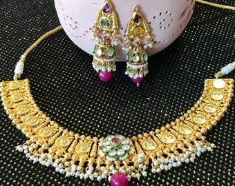 1 gm gold plated Kundan Necklace set