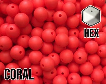 17 mm Hexagon Coral Silicone Beads 5-1,000 (aka Orange Coral, Strawberry) Geometric Bead - Bulk Silicone Beads Wholesale - DIY Teething
