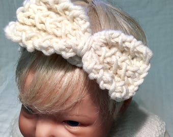 Summer headband for baby/knitted baby headband/headband for baby/chunky headband/baby headband/baby cream headband/baby hair accessory