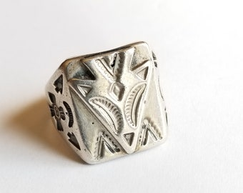 Vintage Cast Sterling Silver Arrowhead Ring Fred Harvey Arrow Native American Style Size 9-1/2