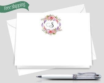 Personalized Note Cards _ Set of 12 with envelopes _ Signature Collection _ Personalized Stationery _  HWM005