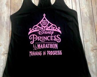 Princess in Training 13.1, 5K, 10K, glass slipper fairy tale challenge, Disney half marathon training in progress Womens Tank Top