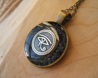 Eye of Horus necklace. Night sky pendant. Ancient Egyptian jewellery. Wadjet. Silver, bronze. Handmade.
