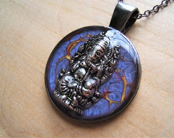 Ganesh pendant necklace. Lord Ganesha Meditation. Hindu necklace. Handmade purple, gunmetal, resin pendant