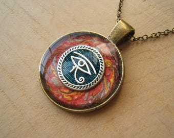 Eye of Horus pendant necklace. Ancient Egyptian jewellery. Wadjet. Silver, bronze & red. Handmade.
