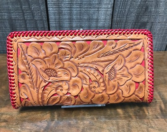 Hand Tooled Leather Wallet with Double Coin Purse