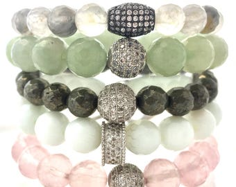 Burst Love! Full Gemstone Bracelet Stack of Rose Quartz - White Jade- Labradorite - Green Aventurine and  Cloudy Quartz