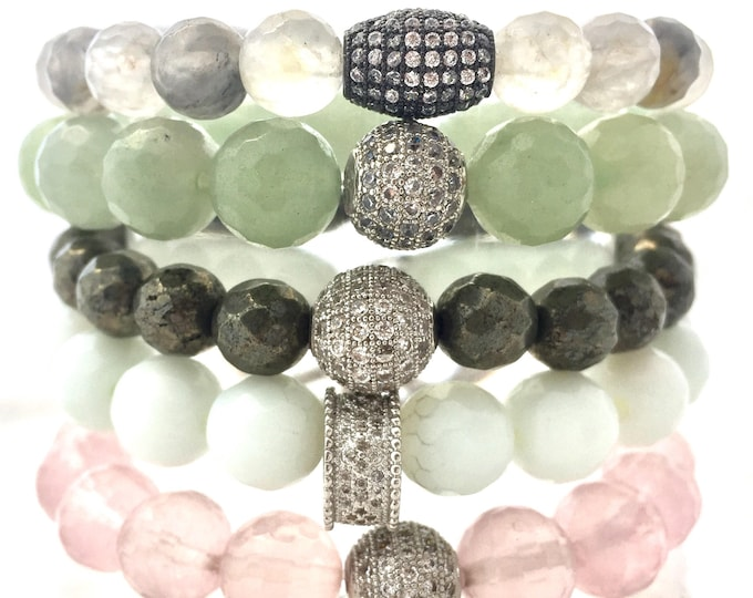 Burst Love! Full Gemstone Bracelet Stack of Rose Quartz - White Jade- Labradorite - Green Aventurine and  Cloudy Quartz