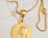 Necklace - Sta Maria Magdalena 25mm - 18K Gold Vermeil + 20 inch 18K GV Box Chain