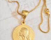 Necklace - Sta Maria Magdalena 29mm - 18K Gold Vermeil + 20 inch 18K GV Box Chain