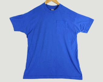 VTG 80s Blue Fruit of the Loom Pocket T-Shirt - Large - 1980s - Faded - Thin Tee - Summer - Gift - Vintage Tee - Vintage Clothing -